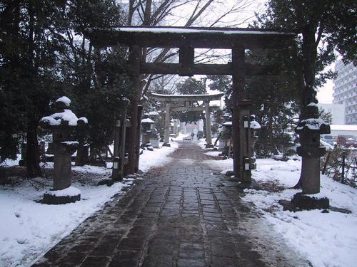 諏方神社本殿より参道を見る