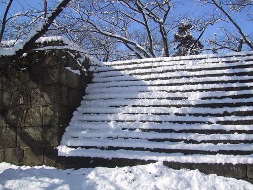 石段につもる雪